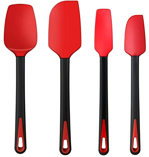 TEEVEA Silicone Spatula Set Rubber Jar Spoon Spatula Kitchen Utensils Non-Stick Heat Resistant for Scraping Cooking Baking Mixing Tools 4 Pack