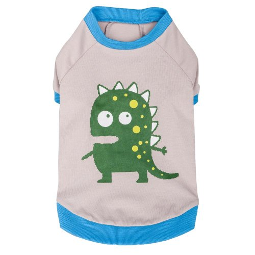 Blueberry Pet Alien the Dinosaur Cotton Dog Shirt in Grey, B