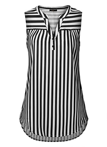 Vafoly Sleeveless Blouses for Women, Women's Vintage Sleeveless V Neck Pleated Chiffon Striped Tank Top Black and White L (Sleeveless High Collar)