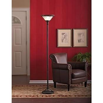 better homes and gardens 70 restoration bronze torchiere floor lamp glass floor  lamps bay 6 3