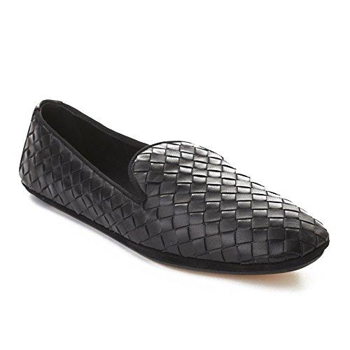 Bottega Veneta Women's Intrecciato Leather Flat Shoes Black