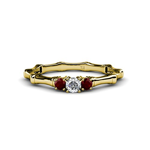 Red Garnet with Center Diamond Three Stone Bamboo Ring 0.26 ct tw in 14K Yellow Gold