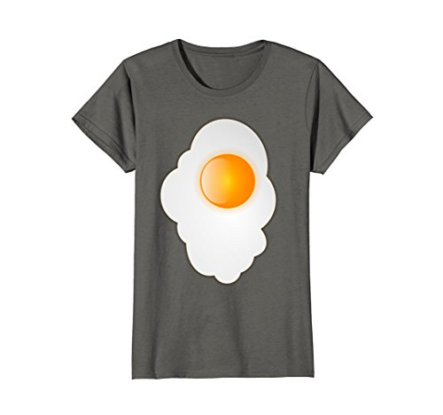 Womens Fried Egg last minute funny Halloween costume tshirt Medium Asphalt