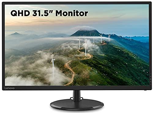 Lenovo 31.5-inch QHD Near Edgeless Monitor with IPS Panel, 75Hz, 250 Nits, 4ms, AMD FreeSync, TUV Certified Eye Comfort – D32q-20 (Raven Black)