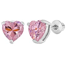 Rhodium Plated Pink Crystal Safety Heart Screw Back Earrings for Kids
