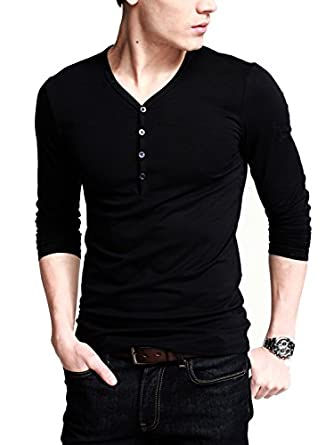 Amazon.com: iLoveSIA Mens Henley T-shirts Long Sleeve With Button ...