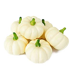 Peicees 6 Realistic Fall Harvest Small Beige Mini Artificial Pumpkins for Halloween, Fall and Thanksgiving Decorating 5
