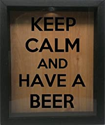 Wooden Shadow Box Wine Cork/Bottle Cap Holder 9x11 - Keep Calm And Have A Beer (Ebony w/Black)