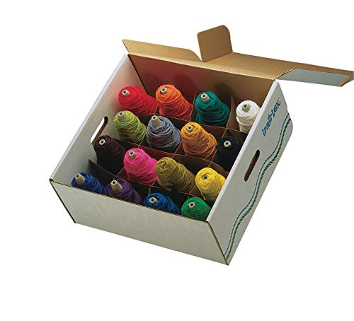 Trait-Tex Acrylic Standard-Weight Yarn 4 Ounce Cone Box Set, Assorted Bright and Intermediate Colors, Set of 16