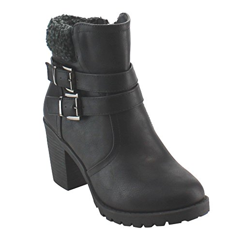 NATURE BREEZE FD69 Women's Double Buckle Strap Stacked Block Heel Ankle Bootie, Color:BLACK, Size:7 (Double Buckle Ankle Strap)