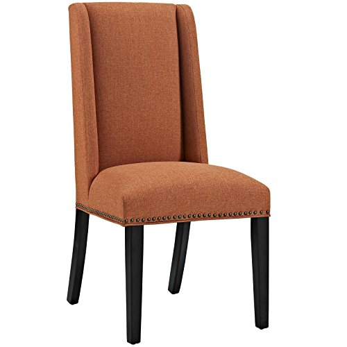 Modway Baron Upholstered Fabric Modern Tall Back Dining Parsons Chair With Nailhead Trim And Wood Legs In Orange by Modway