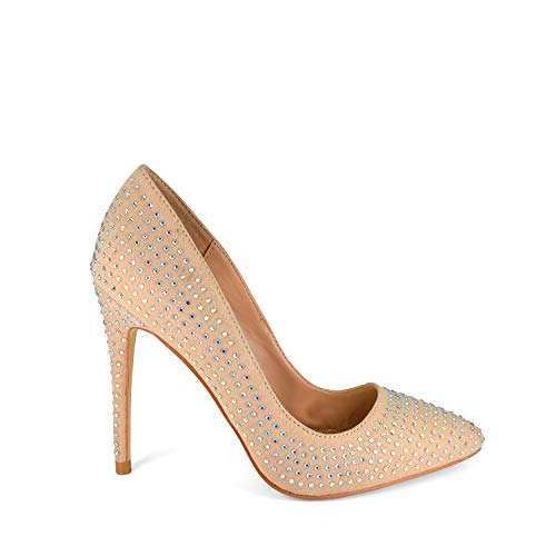 Anne Michelle Womens Pointy Toe Sparkling Rhinestone Studded Stiletto Heel Dress Pumps (8.5, Nude)