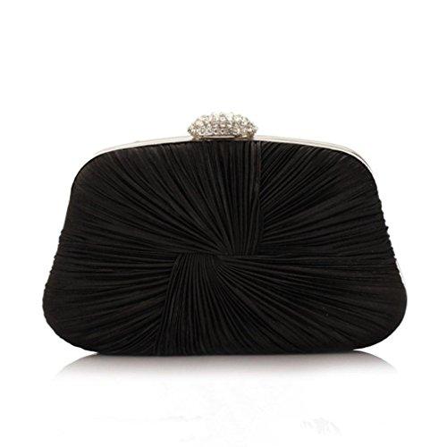 MacJane Womens Feminine Knotted Satin Pleat Evening Clutch Bag ()