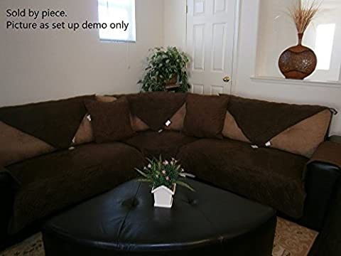 Octorose Quilted Micro Suede Sectional Chaise Lounge Chair Sofa Slipcover Pad Furniture Protector Sold By Piece Rather Than Set (Brown, (Couch Cover Ottoman)