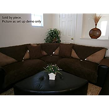 octorose quilted micro suede sectional chaise lounge chair sofa slipcover pad furniture protector sold by piece