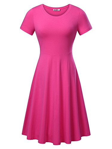 (HUHOT Women Short Sleeve Round Neck Summer Casual Flared Midi Dress (Large,)