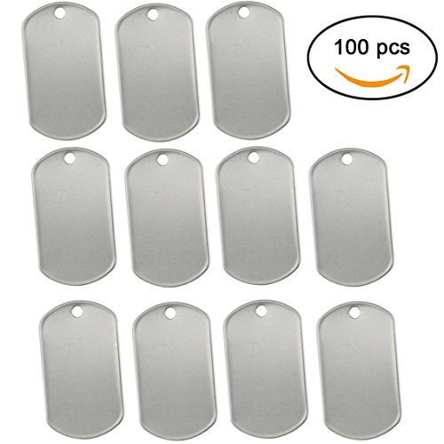 PERTTY 100 Pcs Shiny Stainless Steel Military spec Rolled Edge Backing Dog Tags - BLANK by PERTTY