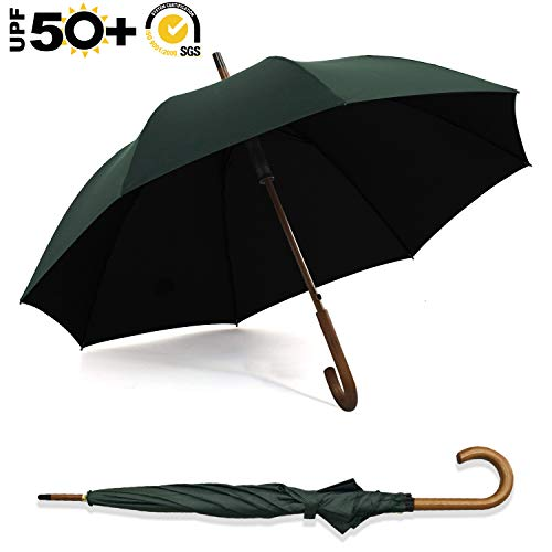 ABCCANOPY Umbrella Rain&Wind Teflon Repellent Wooden J Handle Classic Golf Umbrella Windproof UV Protection 50+ Stick Umbrellas,Forest Green ()