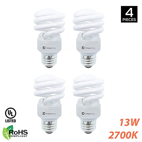 Xtricity Compact Fluorescent T2 Spiral CFL Energy Saver Light Bulb, 13W (60W Equivalent) 120 Volt, 900 Lumens, 2700K Soft White, E26 Medium Base, RoHS Compliant & UL Listed, (Pack of 4)