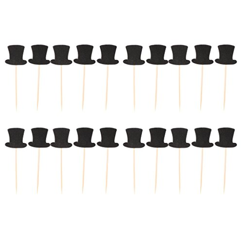 20pcs Paper Top Hats Cake Topper Cupcake Picks for Cake Decor Birthday Party Supplies -