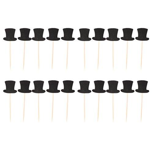 20pcs Paper Top Hats Cake Topper Cupcake Picks