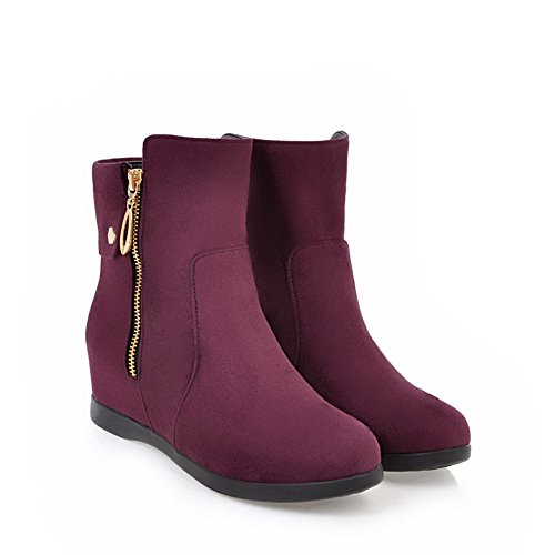 1TO9 Womens Boots Closed-Toe Zip Kitten-Heel Solid Warm Lining Rubber Not_Water_Resistant Low-Top Nubuck Chukka Urethane Boots MNS02427 Claret gbGv9