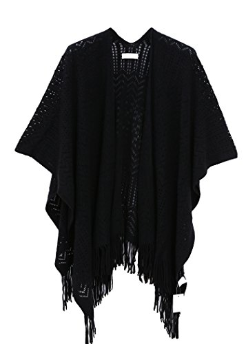 (Knit Shawl Wrap for Women - Soul Young Ladies Fringe Knitted Poncho Blanket Cardigan Cape(One Size,Black))