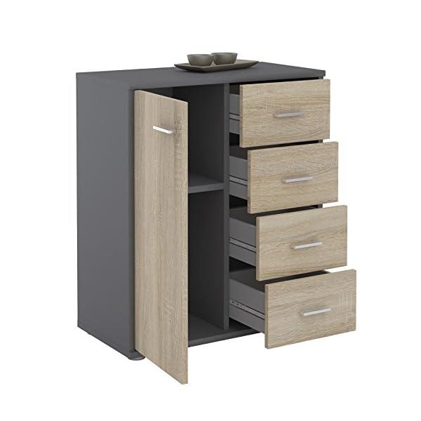 IDIMEX Buffet Oscar, Commode Meuble de Rangement avec 4 tiroirs et 1 Porte, en mélaminé Gris Mat et décor chêne Sonoma