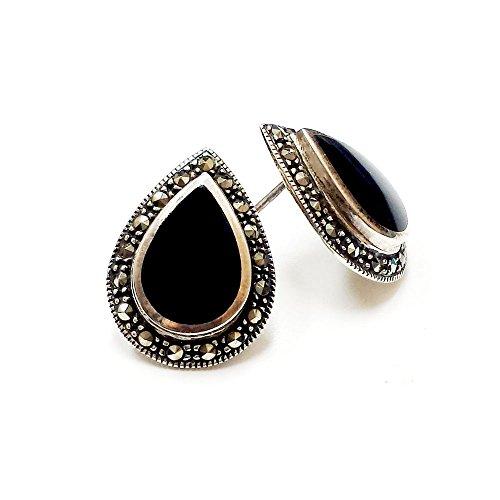 Sterling Silver Marcasite Teardrop Gem (Jade, Turquoise, Onix, Mother of Pearl) Stud Earrings - Onyx Turquoise Black