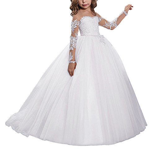 Abaowedding Lace Embroidery Sheer Long Sleeves Kids Trailing Gowns Size 6,White ()