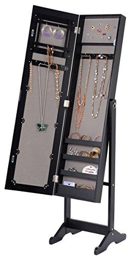 56u0027u0027 Large Floor Mirror Jewelry Cabinet Accessory Organizer Storage Armoire  Stand By DTOFREE (