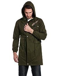 COOFANDY Men's Casual Parka Jacket Cotton Windbreaker Coat with Hood