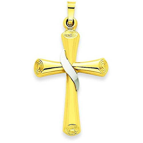 Or bicolore 14carats avec pendentif croix creux-Dimensions 19,4x 35mm