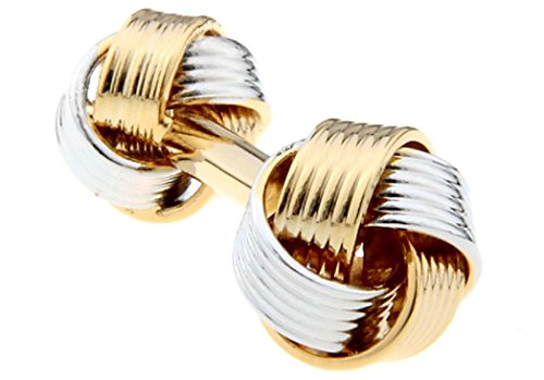 Set Two Tone Cufflinks - MRCUFF Knot 2 Two Tone Dual Ends Pair Cufflinks in a Presentation Gift Box & Polishing Cloth