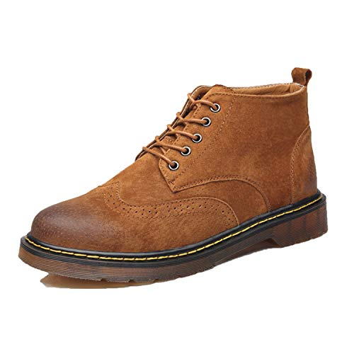 Men's Ankle Boots Luxury Brand Lace up Classic Round Toe Oxfords Male Shoes,Brown,8