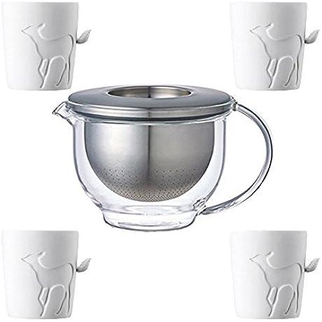 KINTO GLOBO Glass Teapot With Strainer And Four MUGTAIL Fawn Porcelain Mug Set Of 5