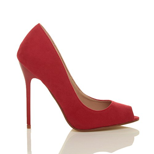 Sandales Daim Bout Simple Haut Talon Chaussures Fête Pointure Escarpins Rouge Femmes Ouvert n8FZHPqwPx