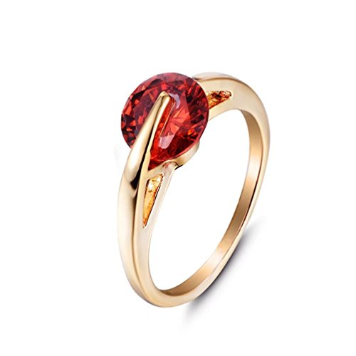 FENDINA Women's 1.25 Carat Round Cut Created Ruby Birthstone Wedding Eternity Ring Brilliant Cubic Zirconia Stackable Solitaire Rings Size 7