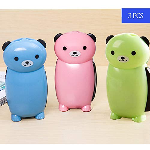 Mini Bear Hand Pressure Flashlight,Lovely Hand Crank LED Flashlight for Kids,Cute Camping Emergency Immediate Light,Campfire Green Energy No Battery-Squeeze Powered Recharge Torch 3Pcs(pink,green,blue