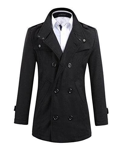 Benibos Mens Wool Slim Double Breasted Half Trench Coat (US:XS / Asia M, Black)