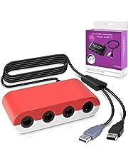 Keten Gamecube Controller Adapter, Super Smash Bros 4-Port-Gamecube-Controller-Adapter für Wii U, Nintendo Switch und PC USB (rot und weiß)