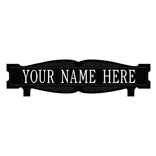 Rectangular 2-Sided 1-Line Mailbox Sign without Ornament Standard - Black/White by Whitehall Products