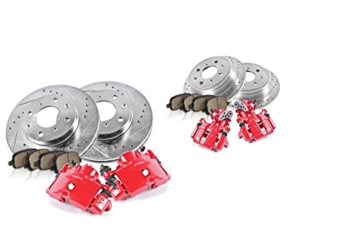 FRONT + REAR Powder Coated Red [4] Calipers + [4] Drilled/Slotted Rotors (1992 Honda Civic Si Hatchback)