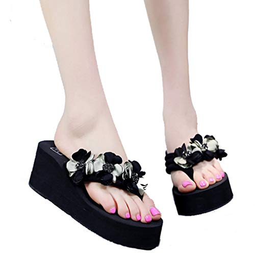 (Women's Platform Beach Flip Flops Slip On Open Toe Floral Mid Heels Thick EVA Wedge Thong Sandal Black-Green)