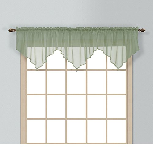 (1 Piece Coordinating Sheer Sage Voile Ascot Valance, Curtain, Solid Pattern, Contemporary Style, Beautiful Design, Polyester Material, Luxury and Reach Look, Stunningly Beautiful,Forest Green,)