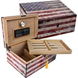 Quality Importers Trading HUM-HS-OG Old Glory Weathered American Flag Exterior Humidor, 15 X