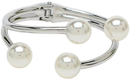 (Lova Jewelry Ivory Pearl Silver Tone Glam Metal Bangle Bracelet)