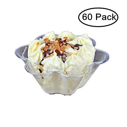 JKLcom Plastic Ice Cream Bowls Clear Flower Ice Cream Bowls Cups Plastic Dessert Bowl Disposable(60) ()