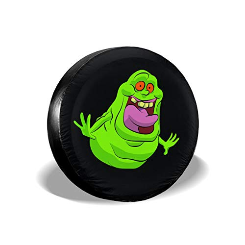 Carmen Belinda Ghostbusters Slimer Tire Wheel Cover Adjustable Polyester Universal Spare Wheel Tire Cover Wheel Covers Weatherproof Tire Protectors (14,15,16,17 Inch)