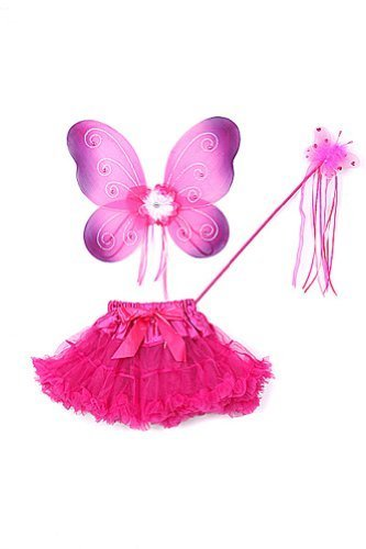Fuchsia & Purple Butterfly Wings Tutu Wand Toddler Girl Costume Dress Up 2T-5T (Baby And Kids Butterfly Costume)
